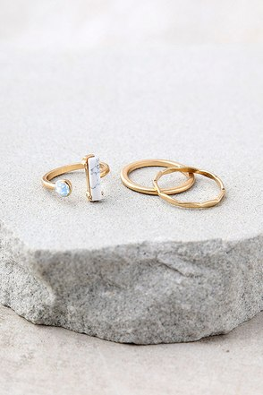 Head in the Clouds Gold and White Ring Set 1