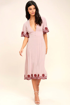 Lovely Light Mauve Dress Midi Dress Embroidered Dress