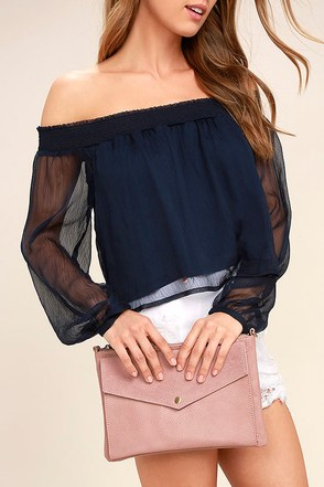 Set List Taupe Suede Leather Clutch 1