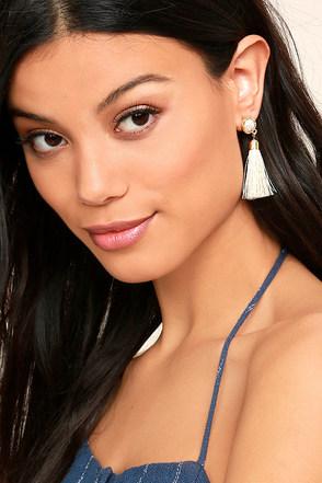 Tease and Tempt Cream Tassel Earrings 1