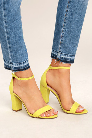 Madden Girl Beella Yellow Suede Ankle Strap Heels 1