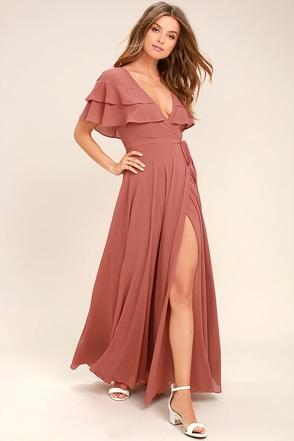 Wonderful Day Rusty Rose Wrap Maxi Dress 1