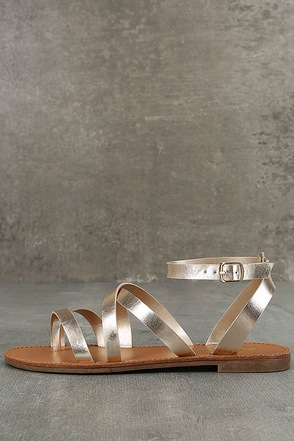 Sonata Champagne Flat Ankle Strap Sandals 1