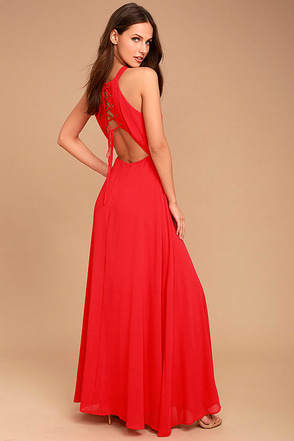 Super Starlet Red Lace-Up Maxi Dress 1