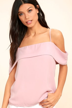 Play a Tune Blush Pink Off-the-Shoulder Top 1