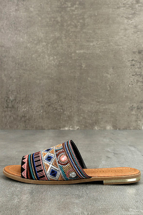 Kamala Black Embroidered Slide Sandals 1