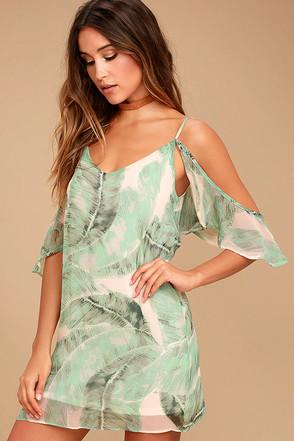 Radiate Positivity Sage Green Print Off-the-Shoulder Dress 1