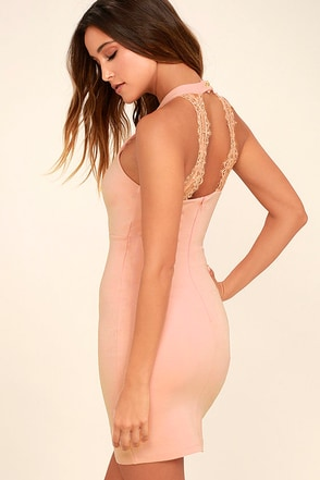 Endlessly Alluring Light Pink Lace Bodycon Dress 1