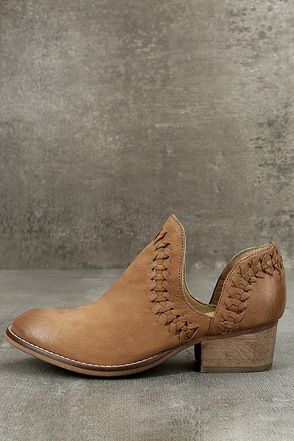 Rebels RB Cathy Tan Leather Cutout Booties 1