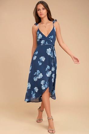 One Desire Navy Blue Floral Print Wrap Dress 1