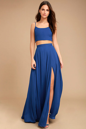 Thoughts of You Royal Blue Two-Piece Maxi Dress 1