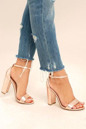Cute Rose Gold Heels Metallic Heels Ankle Strap Heels