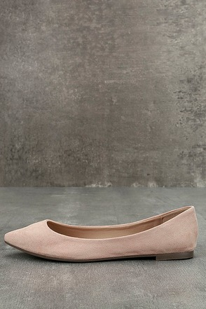 Lexine Blush Suede Pointed Flats 1