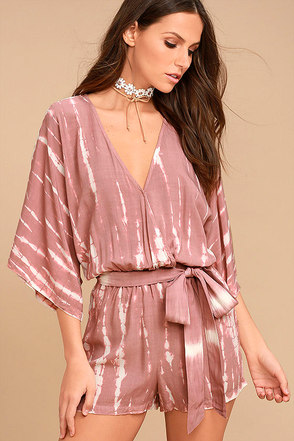 Walking on Air Mauve Pink Tie-Dye Romper 1