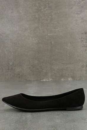 Lexine Black Suede Pointed Flats 1