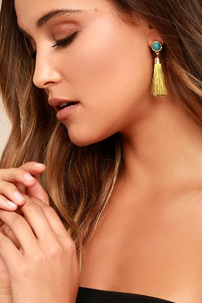 Tease and Tempt Yellow Tassel Earrings 1