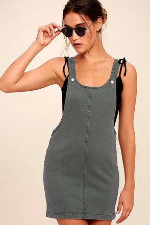 RVCA Oxley Grey Overall Dress 1