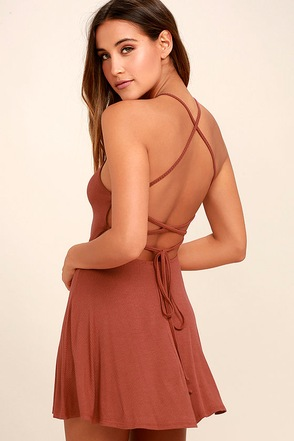 Tied Together Rusty Rose Lace-Up Dress 1