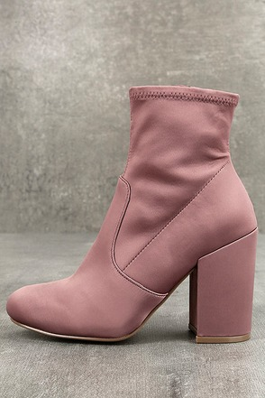 Steve Madden Gaze Blush Satin Mid-Calf Booties 1
