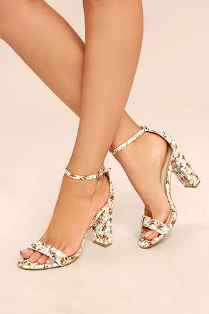 Sirona White and Brown Floral Print Ankle Strap Heels 1