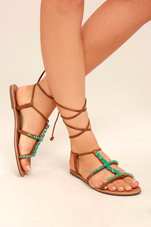 Madden Girl Kalipsoo Cognac Beaded Lace-Up Sandals 1