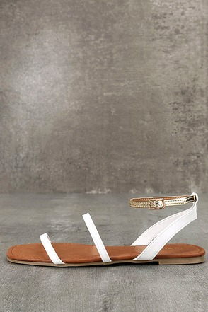Marnina White and Gold Ankle Strap Flat Sandals 1