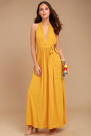 Magical Movement Mustard Yellow Wrap Maxi Dress 1
