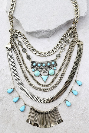 In the Morning Turquoise and Gold Statement Necklace 1