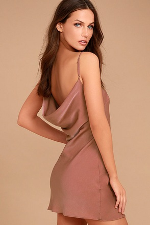 Sexy Mauve Dress Slip Dress Drape Back Dress 52 00
