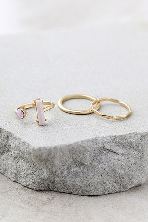 Head in the Clouds Gold and Pink Ring Set 1