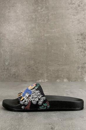 Steve Madden Sparkly Black Multi Slide Sandals 1