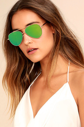 Perverse Bronson Gold and Green Mirrored Aviator Sunglasses 1
