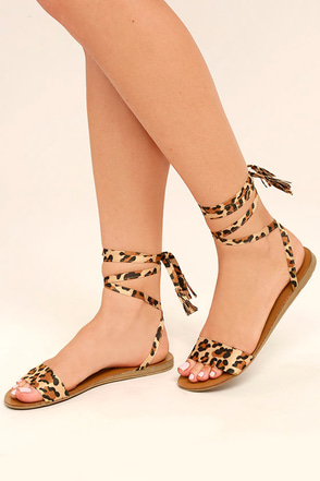 Francoise Leopard Lace-Up Sandals 1