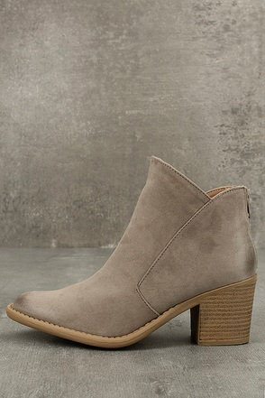 Noelani Taupe Suede Ankle Booties 1