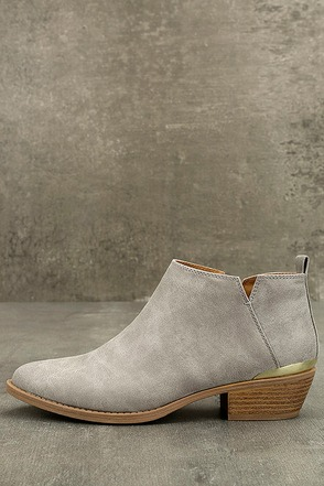 Marzia Light Grey Distressed Ankle Booties 1
