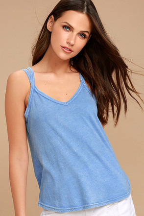 RVCA Eslow Washed Blue Tank Top 1