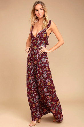 Simple Pleasure Burgundy Floral Print Maxi Dress 1