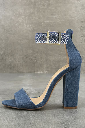 Cybele Denim Embroidered Ankle Strap Heels 1