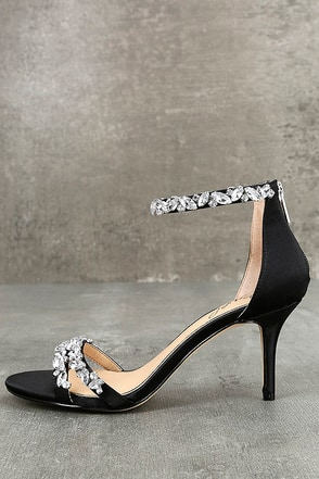 Jewel by Badgley Mischka Caroline Black Satin Heels 1