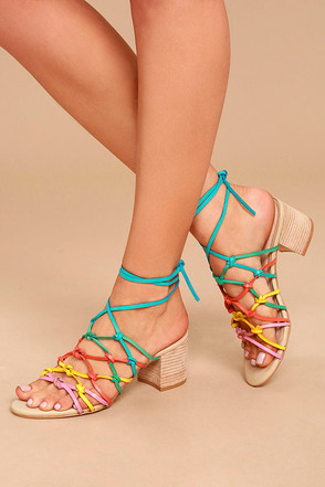 LFL Simple Bright Multi Leather Lace-Up Heels 1