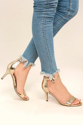 Jeana Champagne Ankle Strap Heels 1