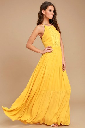Yellow bridesmaid cocktail dresses under 100 at for Yellow maxi dress for wedding