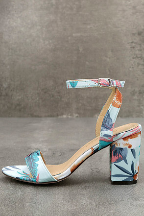 Chilali Light Blue Print Ankle Strap Heels 1