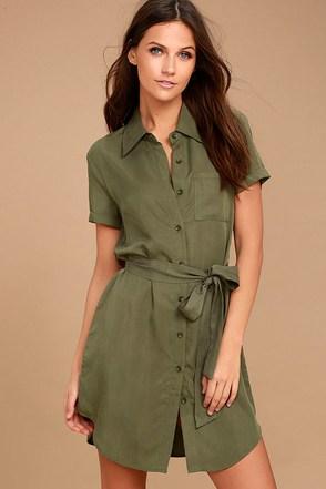 Self-Starter Olive Green Shirt Dress 1