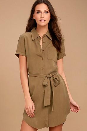 Self-Starter Light Brown Shirt Dress 1