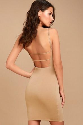 Who Do You Love? Beige Bodycon Dress 1