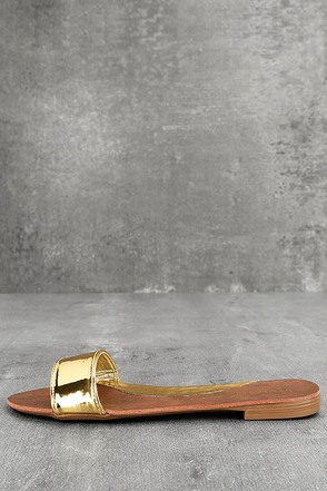 Nori Gold Patent Slide Sandals 1