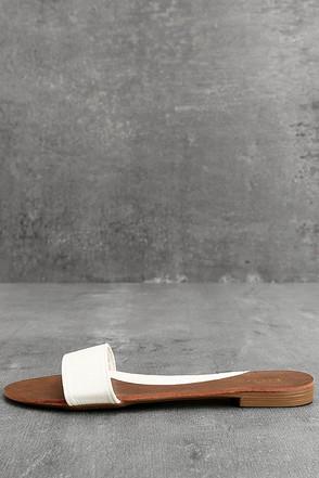 Nori White Slide Sandals 1