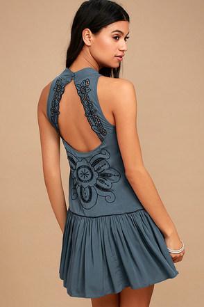 Adalia Teal Blue Embroidered Backless Dress 1