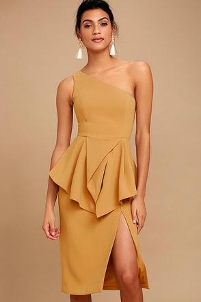 C/MEO Flawless Tan One Shoulder Midi Dress 1